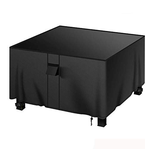 MENSBY Gas Fire Pit Cover Square 44x44x24 inch Fire Pit Table Protective Cover for Outdoor Patio Garden Waterproof and Anti-Fade