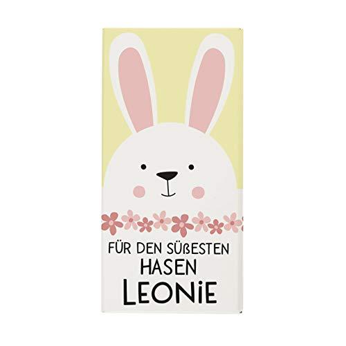 Herz & Heim® Oster-Schokolade mit Namen im Etikett - Ostergeschenk für Frauen