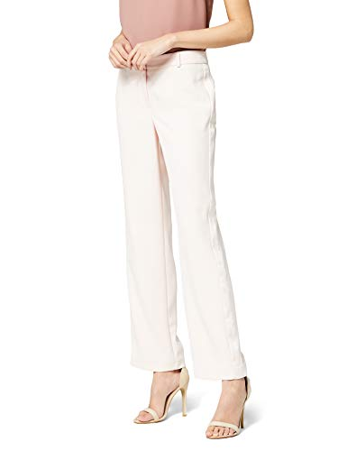 Marca Amazon - Truth & Fable Pantalón Ancho Mujer, Blanco (Pink), 38, Label: S