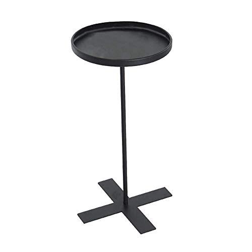 Axdwfd Table basse en fer forgé salon moderne chambre balcon petite table ronde table snack (noir) 27 * 55CM (D * H)