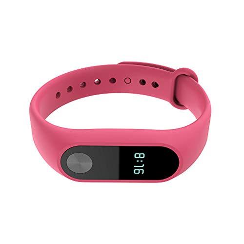 Correa de reloj inteligente compatible con Xiaomi Mi Band 2, monitor de actividad física, correa de silicona suave de color sólido, color rosa