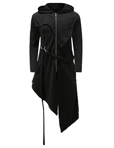 Crubelon Men's Steampunk Vintage Tailcoat Jacket Gothic Victorian Frock Uniform Halloween Costume (M, Black)