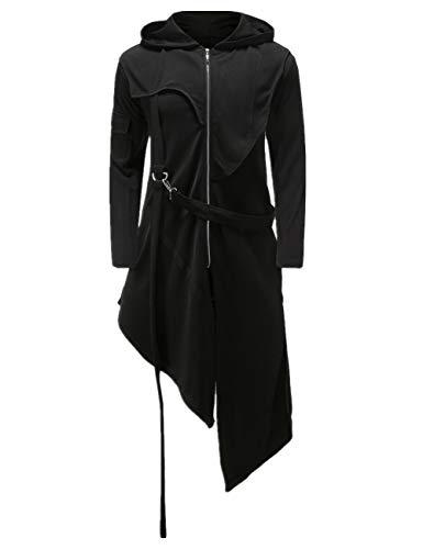 Crubelon Men's Steampunk Vintage Tailcoat Jacket Gothic Victorian Frock Uniform Halloween Costume (S, Black)