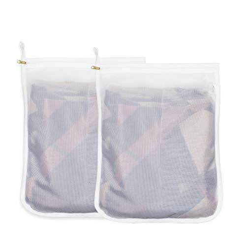 洗濯ネット 2枚入 ランドリーネット 細かい網目 型崩れ防止 絡み防ぎ 傷み防止 丈夫 角型 セーター コート シャツなど適用 洗濯袋セット 洗濯機適用 家庭用 旅行収納袋 白 2M