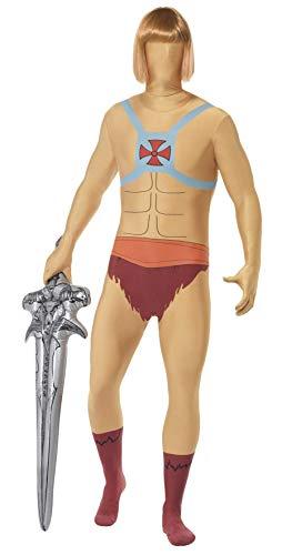 Smiffys, Herren Second Skin He-Man Kostüm, Ganzkörperanzug mit Bauchtasche, Größe: M, 27005