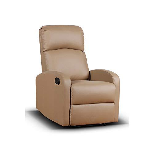 Cribel Spike - Sillón de Relax manual, de piel sintética, color pardo, con movimiento de respaldo reclinable y elevación del piecero, resistente al fuego, 65 x 91 x 101 cm