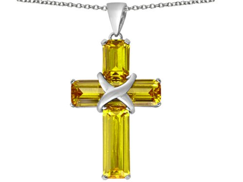 Star K Large Christian Cross Pendant Necklace with Emerald Cut Simulated Citrine Stones