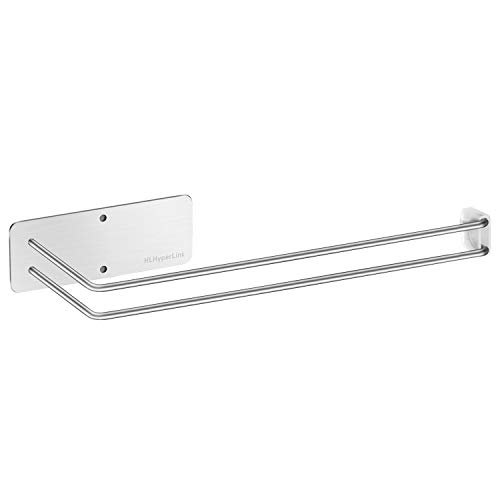 HLHyperLink Kitchen Paper Towel Holder - 304 Stainless Steel Large Rolls Papertowel Rack Under Cabinet and Wall Mount both Available in Adhesive and Screws