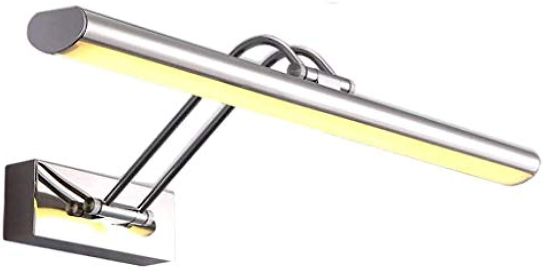 Mirror Lamps Home Home LED Spiegel Scheinwerfer Schlagfrei stufenlos dimmen Modern Minimalist Edelstahl Einstellbare Badezimmer Badezimmerschrank (Farbe   Warm Light-55  4.5cm 12w)