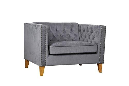 Birlea Florence Snuggle Chair Grey Velvet Snuggler, 80x109x77 cm