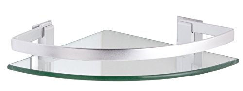 CM Bath Rinconera Cristal+Aluminio, Metal, Cromo Brillante, 24x24x5.7 cm