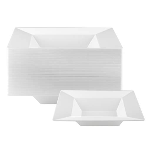 NYHI 14 Ounce Large Square Plastic Bowls | Single Use Recyclable Dinnerware for Household, Restaurant, Weddings & Parties | Durable, Soup Bowl | 50 Pack