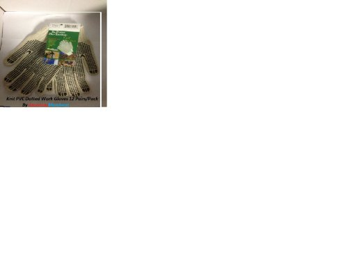 Mens Work Gloves, PVC-Dotted String Knit, Ambidextrous, Large, Dozen Pair
