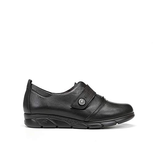 Fluchos   Zapato de Mujer   Stella F1080 Sugar Negro Zapato Casual   Zapato de Piel   Cierre con Velcro   Piso EVA