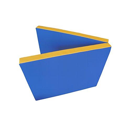 NiroSport Turnmatte 200 x 80 x 8 cm Gymnastikmatte Fitnessmatte Sportmatte Trainingsmatte Weichbodenmatte wasserdicht klappbar (Blau/Gelb)