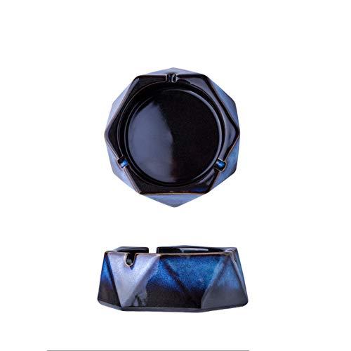 JNRONG-yhg Cenicero-Cerámica Creativa Retro Multifunción Incombustible Y Anti Escaldado, Oficina En El Hogar, Mesa De Centro, Mesa De Café, Hexagonal Corto, Cenicero De Diamantes