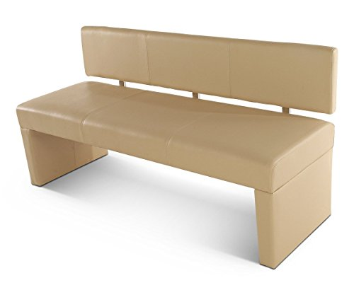 SAM® Esszimmer Sitzbank Sandra, 164 cm, in Creme, Sitzbank mit Rückenlehne aus Samolux®-Bezug, angenehmer Sitzkomfort, frei im Raum aufstellbare Bank