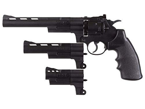 Crosman CR44TTKT Triple Threat CO2-Powered Semi-Auto Dual Ammo Air Revolver With 3, 6 and 8-Inch Barrel