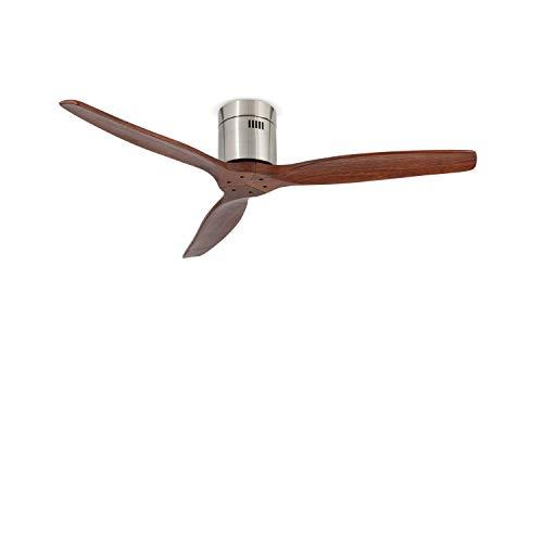 IKOHS AIRCALM DC - Ventilador de Techo con Mando, Bajo Consumo, Silencioso, Potente, 3 Aspas, 132 cm de Diámetro, 6 Velocidades, Temporizador, Aspas de Madera, 40W (Madera Oscura)