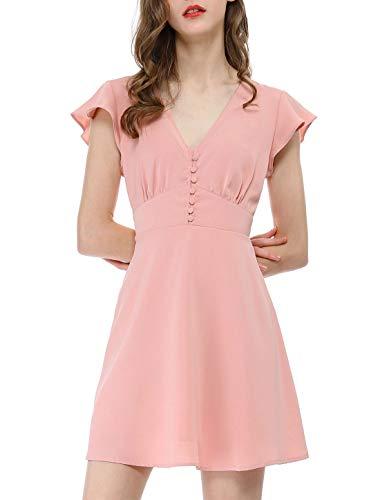 Allegra K Women's Ruffle Sleeves V Neck Button Elastic Waist Skater Dress Pink XS (US 2)