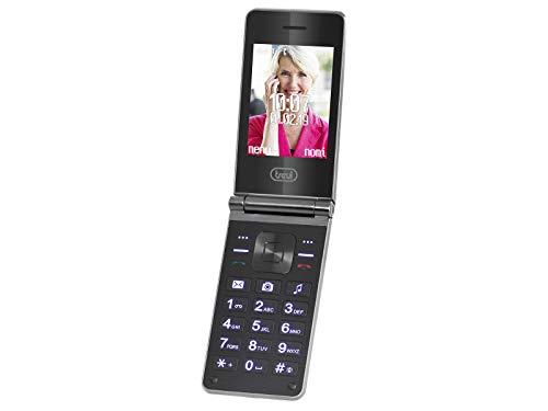 Trevi Flex Plus 75 Senior - Teléfono móvil con Doble Pantalla y función de Concha, Botones Grandes, función de Llamada rápida, Bluetooth, Radio FM, cámara, Color Negro