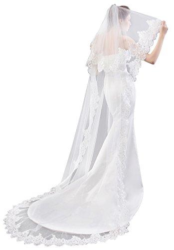 EllieHouse Women's Custom Made Long 2 Tier Wedding Bridal Veil With Free Comb White E74