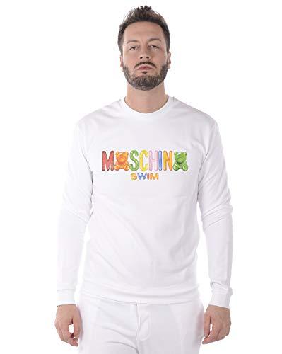 Moschino Swim - Sudadera Hombre A17012318 A1701 2318 Sudadera Logo Gommy Blanco XL