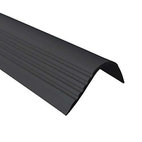 Treppenkantenprofil Selbstklebend PVC Kunststoff Antirutsch-Profil Winkelprofil 52x40 gerundet, schwarz, 150cm