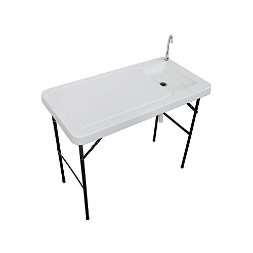 Stromberg's Outdoor Folding Fish and Game Cleaning Table with Sink Portable & Durable Upgraded Drainage Hose, Stainless Steel Faucet, White
