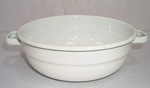 émail bol, bol de Paysan, bol avec anse, blanc 20 cm