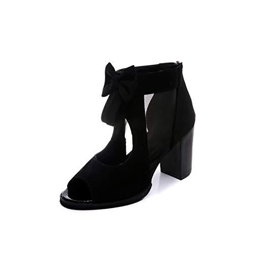 [イノヤシューズ] サンダル サマーブーツ ブラック レディース ブーツサンダル ハイヒール 太ヒール オープントゥ パンプス レディース 靴 ヒール ブーティ ショートブーツ ブーサン 24.5cm 女性 スクエアヒール 履きやすい 疲れにくい