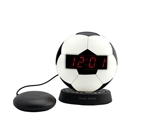 Sonic Alert Soccer Alarm Clock Nightlight | Soft Ambient Light for Children in The Dark | Recordable Alarm w/Vibrating Alarm Clock for Heavy Sleepers, Battery Backup | Wake with a Shake