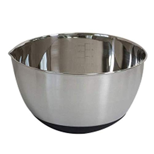 CuiXiangUK Stainless Steel Mixing Bowls, Nesting Bowl with Easy Pour Spout Non Skid Bottom Measurement Markings, for Cooking Baking Prepping 2PCS