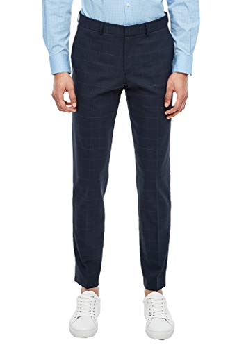 s.Oliver BLACK LABEL Herren 02.899.73.4478 Anzughose, Blue Check, 50 (Herstellergröße: 98)