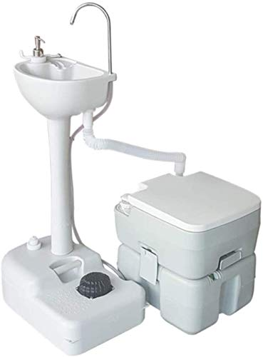 Tragbare Kombination Aus Waschbecken Und Toilette, 17-l-Handwaschstation Und 20-l-Spültoilette, Waschtischhalter, Tragbare Outdoor-Camping-Toilette Mit Rollen Und Fußpumpe