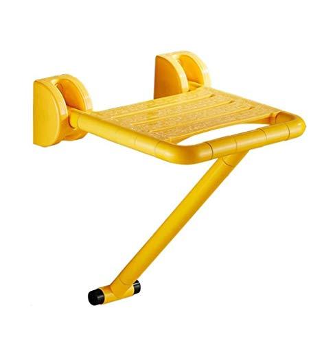 Taburetes de ducha Taburete de baño de pared plegable Taburete de asiento de ducha de acero inoxidable montado en la pared para adultos mayores Hábitat plegable de baño para discapacitados - Amarillo