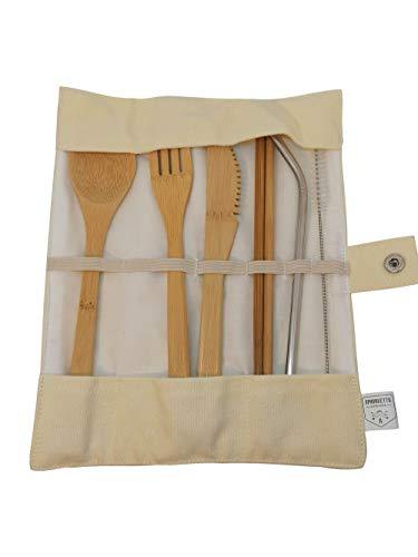 Bamboe Bestek Set | Reisbestek Set | Eco Friendly Flatware Set | Mes, Vork, Lepel en Straw| Houten Bestek Set | Camping Bestek Set met Reistas