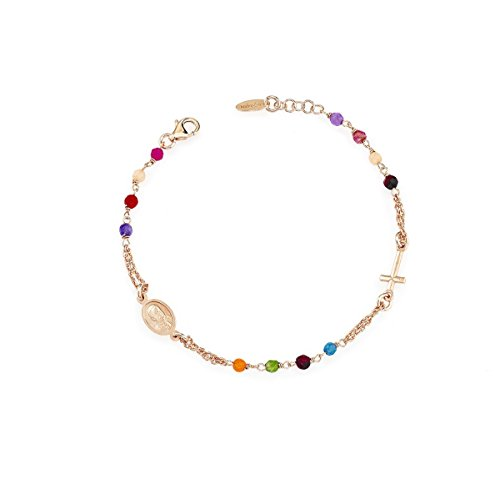 Bracciale Rosario Pietra Giada Multicolor e AG925 - Amen Collection