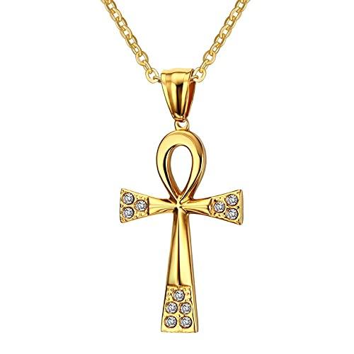 ShSnnwrl Collar Collar y Colgante La Llave del Nilo Cadena de Color Dorado para Mujeres/Hombres Joyería CZ Piedra Collar de Cruz egipcia