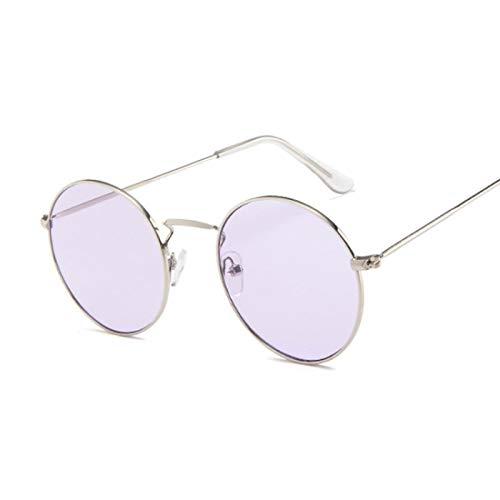 NJJX Gafas De Sol Redondas Vintage Para Mujer, Gafas De Sol Con Espejo De Color Caramelo, Gafas De Exterior Para Mujer Y Hombre, Plata, Púrpura