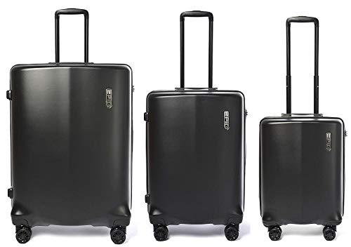 Epic Koffer-Set Clip ECT400 3-TLG Reisekoffer Trolley-Set 4 Räder Schwarz 3er Set-207 Liter