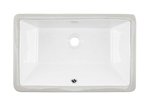 1181CBW White Rectangular Porcelain Undermount Lavatory Bathroom Sink Size 18 1/2 X 11