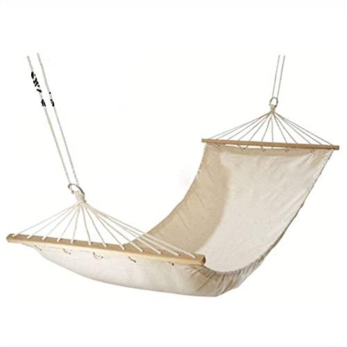 Bärbar rekreation ren vit duk hängmatta 100% bomull duk utomhus hängmatta med träpinne kanfas enkel dubbel hängmatta gåvor för vandrare