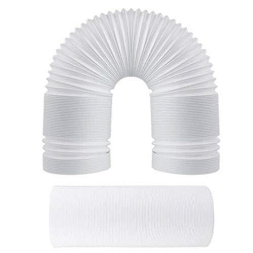 Air Conditioner Hose, 5.1/5.9inch PP Telescopic Anticlockwise Thread Air Conditioner Hose Exhaust Vent - White 130mm x 3m