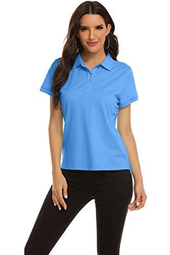 MoFiz Damen Poloshirt Kurzarm Baumwolle Polohemd Sport Polo Sommershirts Atmungsaktiv Himmelblau XXL