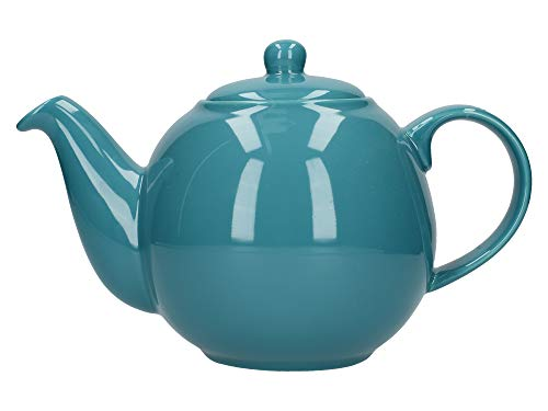 London Pottery Globe Tetera con colador, cerámica, Azul Turquesa, 6 Cup (1.2 Litre)