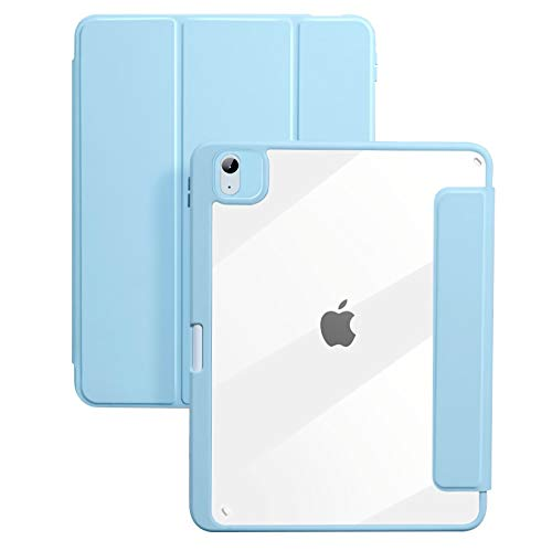 Case for iPad Air 4 10.9 Inch 2020, Hard Transparent Back Cover with Soft TPU Edge, Built-In Pencil Holder, Auto Sleep/Wake,Blue