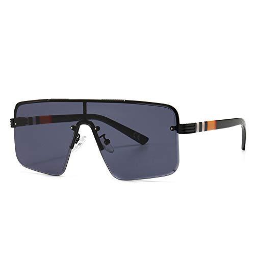 FENGHUAN Gafas de sol cuadradas Vintage para hombre y mujer,gradienteclásico,una lente, medio marco, gafas para mujer, hombre, negro