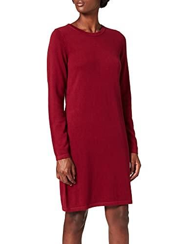edc by ESPRIT Damen Essential Strick Kleid, 610/DARK RED, L