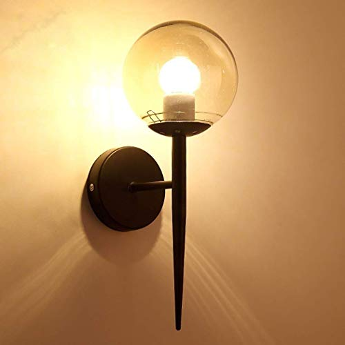Zixin Moderne minimalistische Wandleuchte LED-Cafés, Restaurants, Bars, etc. Schlafzimmer Nachtwandleuchte Runde Glas Flur Balkon Aisle Wandleuchten, E27 (Farbe: Orange) (Color : Black)